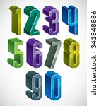 3d geometric numbers set in... | Shutterstock .eps vector #341848886