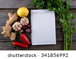notebook with raw cooking... | Shutterstock . vector #341856992