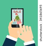 hands hold  phone with... | Shutterstock .eps vector #341865695