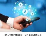 finger pointing on smartphone... | Shutterstock . vector #341868536