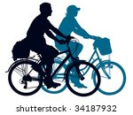 cycling people on a summer trip.... | Shutterstock .eps vector #34187932