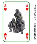 Small photo of Ace of Hearts in combat. Special unit to fight terrorists. Cards are dealt on the table.