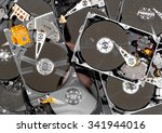 computer hard drives being... | Shutterstock . vector #341944016