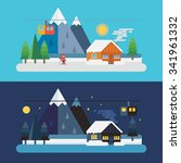 winter day and night mountain... | Shutterstock .eps vector #341961332