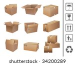 shipping boxes collection | Shutterstock .eps vector #34200289