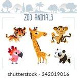 zoo animals. vector... | Shutterstock .eps vector #342019016
