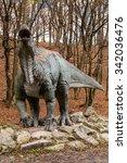 Small photo of BRATISLAVA, SLOVAKIA - OCT 18, 2015: Sauropelta in DinoPark in Bratislava, Slovakia. One of the popular attractions in Bratislava, Slovakia.