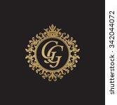 gg initial luxury ornament... | Shutterstock .eps vector #342044072