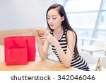 chinese girl in the mall ... | Shutterstock . vector #342046046