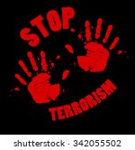 bloody hands stop terrorism sign | Shutterstock . vector #342055502