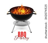 bbq party banner grill with... | Shutterstock .eps vector #342074525