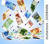 falling euro bills of various... | Shutterstock . vector #342084686