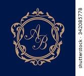 elegant floral monogram design... | Shutterstock . vector #342085778