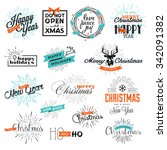 set of christmas and new year's ... | Shutterstock .eps vector #342091382