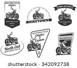 set of classic motorcycle logo  ... | Shutterstock .eps vector #342092738