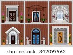 front doors of different... | Shutterstock .eps vector #342099962