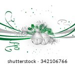 green christmas background with ... | Shutterstock .eps vector #342106766