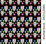 Sugar Skull Colorful Seamless...