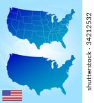 america maps and flag | Shutterstock .eps vector #34212532