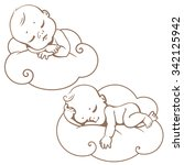 two cute little babies sleeping ... | Shutterstock .eps vector #342125942