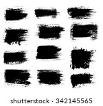 grunge shapes  set  black... | Shutterstock .eps vector #342145565
