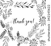 thank you card  lettering text...   Shutterstock .eps vector #342145622