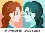 double personality mirror girl | Shutterstock .eps vector #342151085