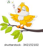 Stock vector cute yellow bird singing 342152102
