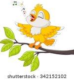 cute yellow bird singing | Shutterstock .eps vector #342152102