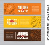 set of autumn sale banners with ... | Shutterstock .eps vector #342154616