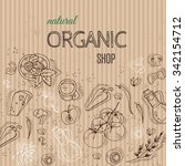 organic shop concept with... | Shutterstock .eps vector #342154712