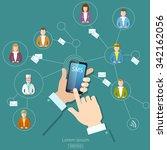 social network concept people... | Shutterstock .eps vector #342162056