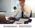 business man sitting at his... | Shutterstock . vector #342191612