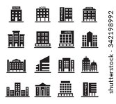 hotel building icons set  | Shutterstock .eps vector #342198992