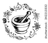 mortar and pestle in a wreath... | Shutterstock .eps vector #342213332