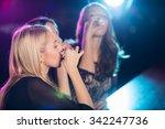 beautiful girls drinking shots...   Shutterstock . vector #342247736