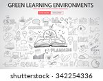 green learning environment with ... | Shutterstock .eps vector #342254336