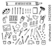 art tools sketch hand drawn set ... | Shutterstock .eps vector #342255005