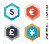 hexagon buttons. dollar  euro ... | Shutterstock . vector #342255266