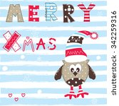 christmas  greeting card with... | Shutterstock .eps vector #342259316