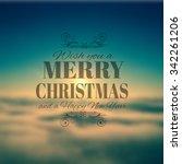 merry crhistmas typography over ... | Shutterstock . vector #342261206