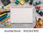 top view of blank notebook ...   Shutterstock . vector #342261902