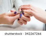 closeup finger nail care by... | Shutterstock . vector #342267266