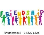 children silhouettes holding... | Shutterstock . vector #342271226