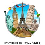 famous monuments of the world... | Shutterstock . vector #342272255
