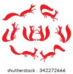 silhouettes in motion red foxes. | Shutterstock .eps vector #342272666