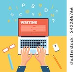 hand typing on laptop. vector... | Shutterstock .eps vector #342286766