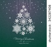 white snowflake christmas tree... | Shutterstock .eps vector #342287408