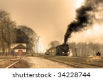 Old Retro Steam Train Stopped...