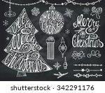 christmas tree balls lettering... | Shutterstock .eps vector #342291176